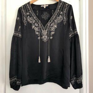 Nannette Lepore silk black peasant top size M 6